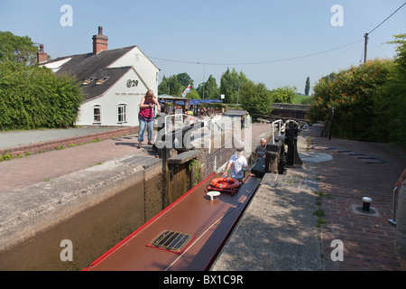 Grindley Brook Locks Llangollen Canal - Stock Photo