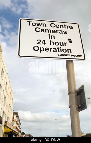 ccvtv camera cameras surveillance closed circuit television tv sign police town center centre sussex observation - Stock Photo