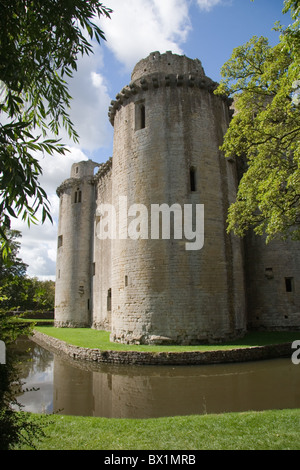 A view of the ruined medieval castle at Nunney, Somerset, England, UK - Stock Photo