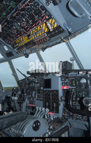 Airplane cockpit Great Britain Europe inside Lockheed Hercules C 130 J military RAF royal Air Force transp - Stock Photo
