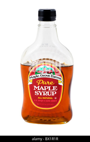 Bottle of Maple Grove Farms pure natural Maple Syrup, USA - Stock Photo