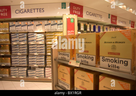 airport Gatwick boxes Cigarettes Duty free duty free trade purchase shelves shopping smoker´s goods smokin - Stock Photo