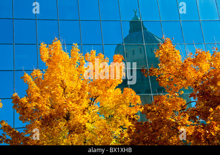 USA,Idaho, Boise, Idaho State Capitol reflectingl fall colors in mirrored office building. - Stock Photo