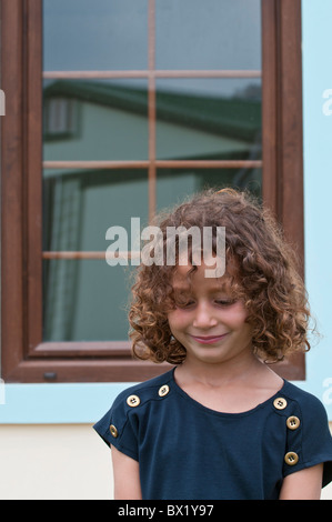 Beautiful girl smiling standing outside home Beirut Lebanon Middle east Asia