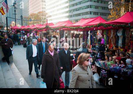 The Holiday Market at St. Bartholomew's Episcopal Church on Park Avenue in New York - Stock Photo