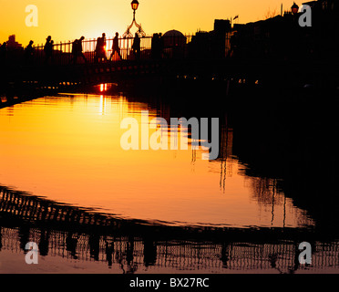 Dublin, Co Dublin, Ireland, Ha'penny Bridge, At Sunset - Stock Photo
