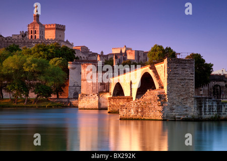 Pont St. Benezet over River Rhone with Palais des Papes, Avignon France - Stock Photo