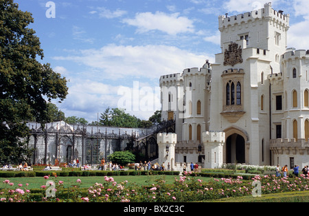 visitors castle Czechia Europe Garden Gardens Hluboka nad Vltavou Park South bohemian Frauenberg - Stock Photo