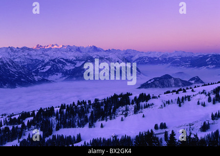 central Switzerland Europe Burgenstock fog sea of fog morning mountain panorama mountain scenery mountains - Stock Photo