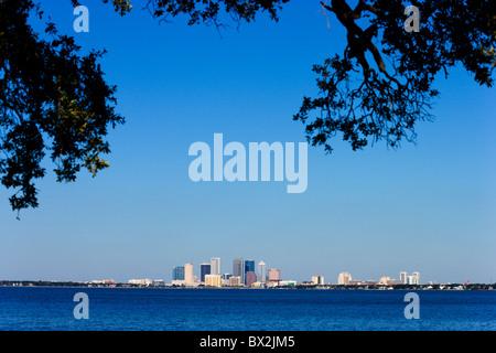 The city skyline across Tampa Bay from Ballast Point Park, Interbay Peninsula, Tampa, Florida, USA - Stock Photo