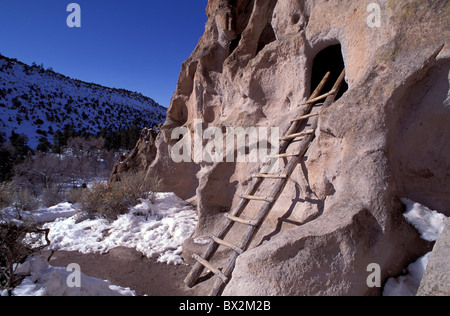 Ladder Indian Cave Dwelling Bandelier National Monument New Mexico USA America North America cave Indians Nat - Stock Photo