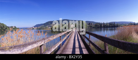 island isle Werd bridge bar wooden bridge wood bar river water scenery landscape shore Stein am Rhein can - Stock Photo