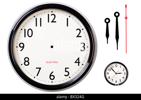 Photo of a blank electric clock face with arabic numerals plus hour, minute and second hands to make your own time. - Stock Photo