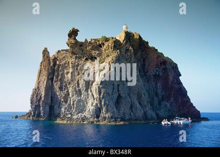 Strombolicchio Lighthouse; Stromboli, Sicily, Italy - Stock Photo
