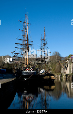Tall Ships Kaskelot and Phoenix in Charlestown,Cornwall,Historic tall ship in Charlestown Harbour Cornwall England - Stock Photo