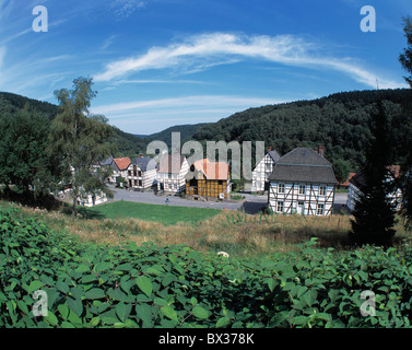 tobacco factory half-timbered houses open-air museum Hagen museum Ruhr area North Rhine-Westphalia Germany Eur - Stock Photo