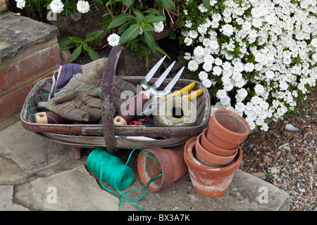 Garden tools in trug - Stock Photo