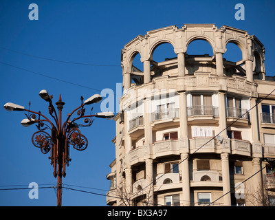Communist era residential building on Boulevard Unirii in Bucharest Romania - Stock Photo