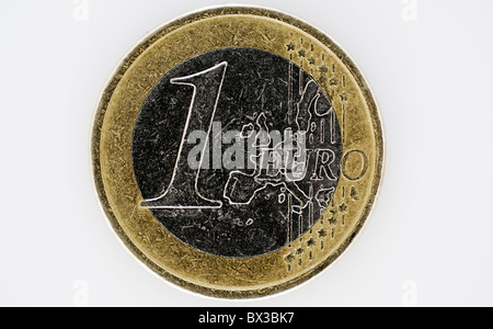 one Euro coin on white background - Stock Photo