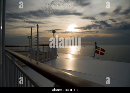 Sunset off of a cruise ship - Stock Photo