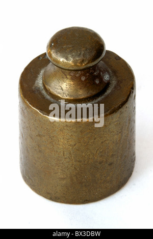 weight kilogram measure brass metal studio - Stock Photo