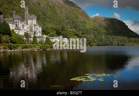 Kylemore Abbey in Conemara region, Ireland - Stock Photo