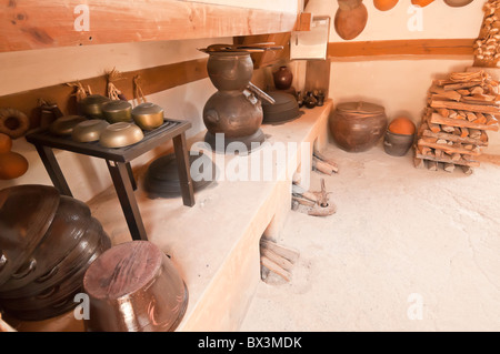 Traditional kitchen, in Sunjeong Hyo Empress Yun's parents home, Namsangol folk village, Seoul, South Korea - Stock Photo