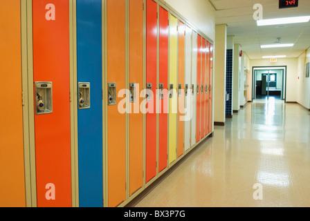 A Row Of Lockers In A School Hallway; Camrose, Alberta, Canada - Stock Photo