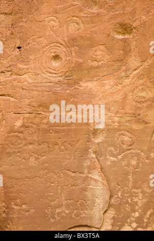 Spiral Petroglyphs along the petroglyph trail at The Chaco Culture National Historic Site in Chaco Canyon, New Mexico. - Stock Photo