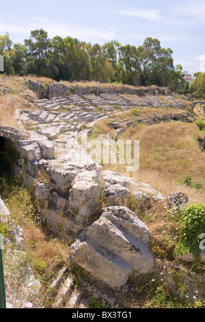 greek theatre in syracuse, sicily - Stock Photo