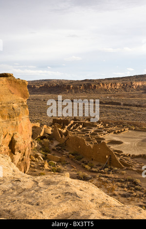 View of Pueblo Bonito from the Pueblo Alto trail in The Chaco Culture National Historic Park in Chaco Canyon, New - Stock Photo