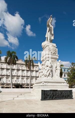 Statue Of José Martí (Padres De La Patria) With The Hotel Inglaterra In The Background; Havana, Cuba - Stock Photo