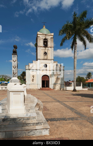 Iglesia Del Sagrado Corazón With Memorial To José Julián Martí Pérez In The Foreground; Viñales, Cuba - Stock Photo