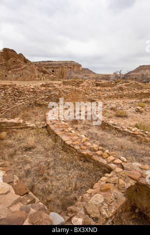 Ceremonial Kiva and Great House at Pueblo Del Arroyo, Chaco Culture National Historic Park in Chaco Canyon, New - Stock Photo