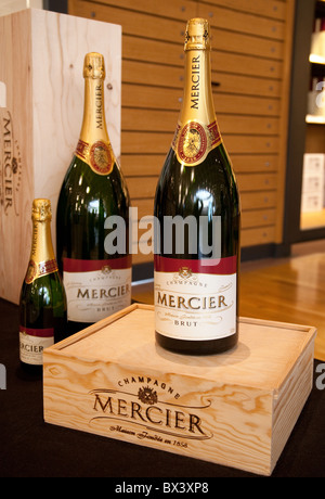 Bottles of Mercier champagne on display, Mercier Champagne House, Avenue de Champagne Epernay, France - Stock Photo