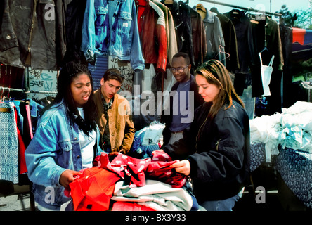 Paris, France, Group of Mixed Race, and Gender, French Teenagers Friends, Shopping in Flea Market, (Porte de Clignancourt). - Stock Photo