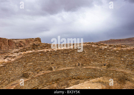 Great Kiva at Pueblo Del Arroyo in The Chaco Culture National Historic Park in Chaco Canyon, New Mexico USA. - Stock Photo