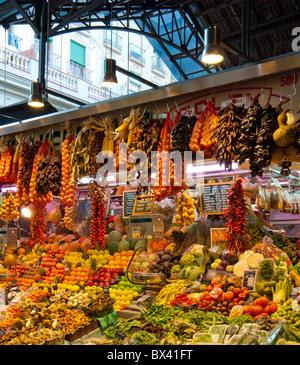 Famous covered market, The Mercat Sant Josep de la Boqueria (La Boqueria) built in 1840, Barcelona, Spain - Stock Photo
