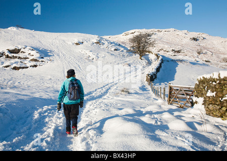 Walking on Loughrigg in the Lake District, UK, in winter weather. - Stock Photo