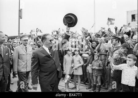 Josip Broz Tito, Alexander Dubcek, Prague, people, airport, hat - Stock Photo