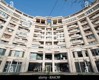 Communist era residential building on Boulevard Unirii in Bucharest Romania - Stock Photo