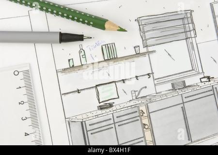kitchen space planning - Stock Photo