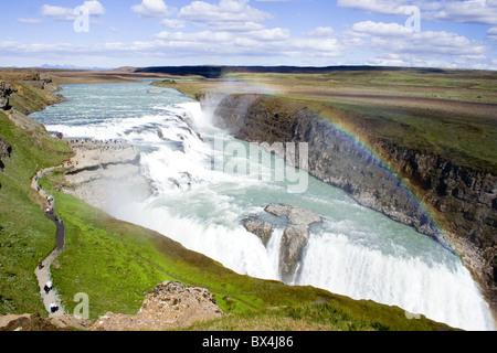 Waterfall Gulfoss Iceland - Stock Photo