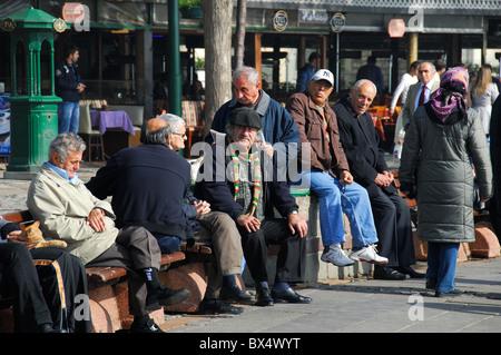 ISTANBUL, TURKEY. A weekend scene in the Bosphorus suburb of Ortakoy, Besiktas district. 2010. - Stock Photo
