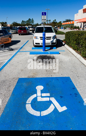 A disabled parking space outside a Home Depot, Lake Wales, Central Florida, USA - Stock Photo