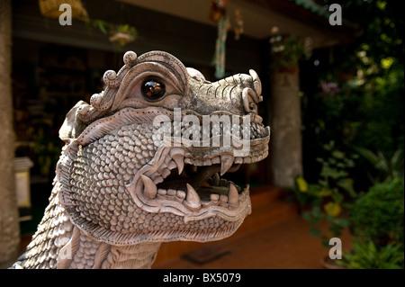 A Naga at Wat Buppharam in Chiang Mai in Thailand - Stock Photo