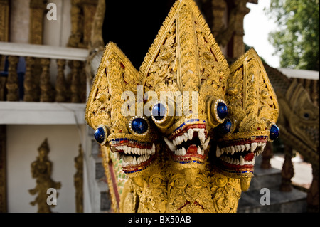 Nagas at Wat Buppharam in Chiang Mai in Thailand; - Stock Photo