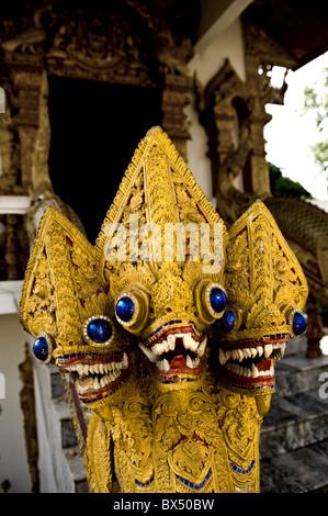 Thailand - Nagas at Wat Buppharam in Chiang Mai in Thailand - Stock Photo