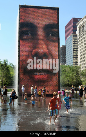 The Crown Fountain alongside South Michigan Avenue on a brilliant summer day, in Millennium Park, Chicago, Illinois. - Stock Photo