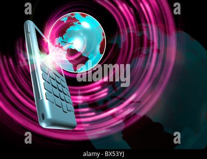Global communications, artwork - Stock Photo